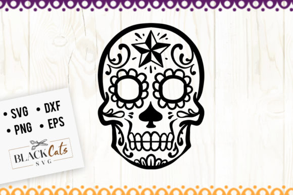 Download Free Sugar Skull 3 Svg Graphic By Blackcatsmedia Creative Fabrica for Cricut Explore, Silhouette and other cutting machines.