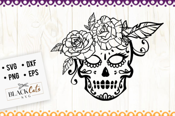 Download Free Sugar Skull 6 Svg Graphic By Blackcatsmedia Creative Fabrica for Cricut Explore, Silhouette and other cutting machines.