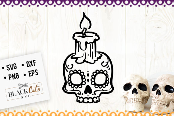 Sugar Skull with Candle SVG Graphic Crafts By BlackCatsMedia