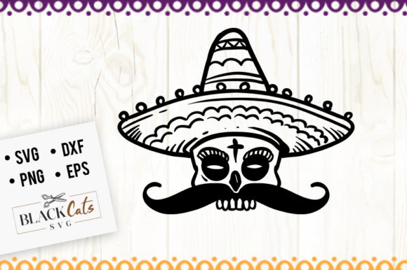 Sugar Skull and Sombrero SVG Graphic Crafts By BlackCatsMedia