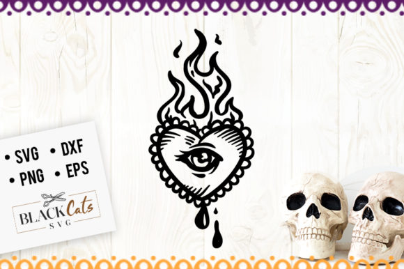 Download Free Tattoo Heart In Flames Svg Graphic By Blackcatsmedia Creative for Cricut Explore, Silhouette and other cutting machines.