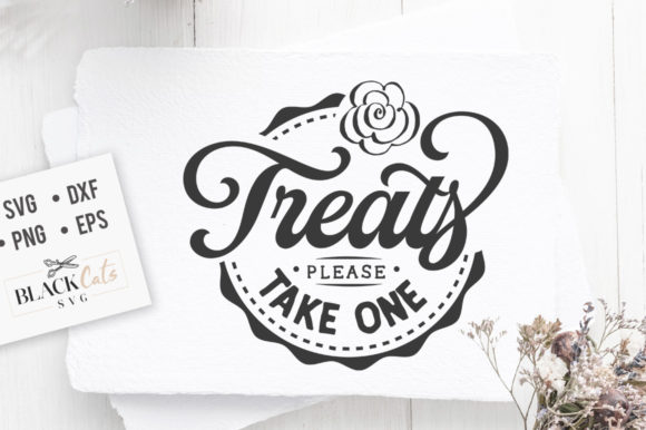 Download Free Treats Please Take One Svg Graphic By Blackcatsmedia Creative for Cricut Explore, Silhouette and other cutting machines.
