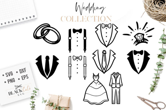 Download Free Wedding Clipart Collection Svg Graphic By Blackcatsmedia for Cricut Explore, Silhouette and other cutting machines.