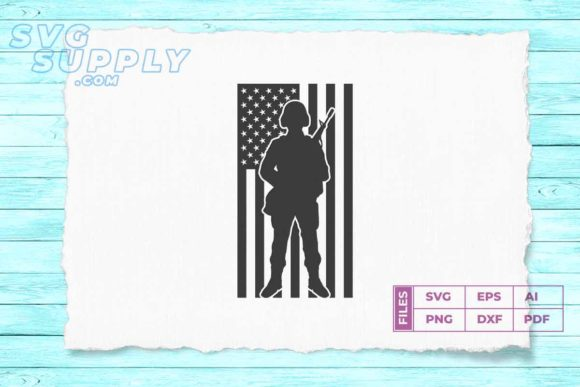 Print on Demand: Soldier Silhouette Png American Flag Graphic Illustrations By svgsupply - Image 1