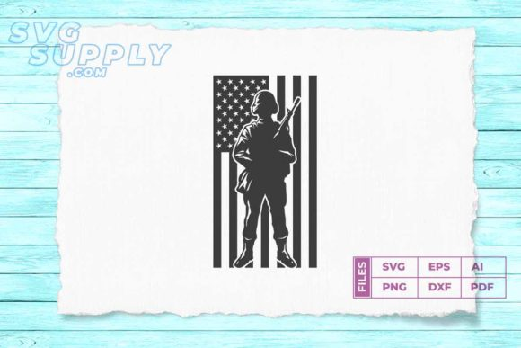 Print on Demand: Soldier Silhouette American Flag Graphic Illustrations By svgsupply