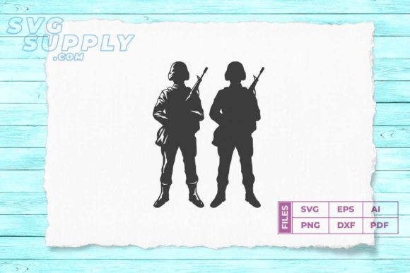 Print on Demand: Two Soldier Silhouette Graphic Illustrations By svgsupply
