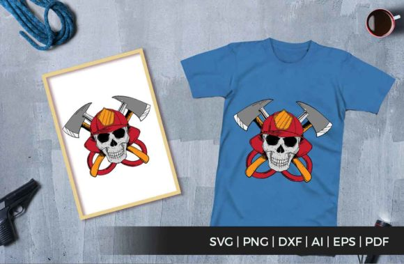 Print on Demand: Skull Firefighter Graphic Illustrations By svgsupply