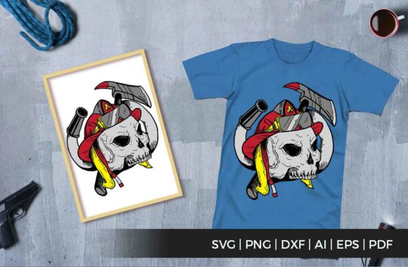Print on Demand: Skull Firefighters Graphic Illustrations By svgsupply - Image 1