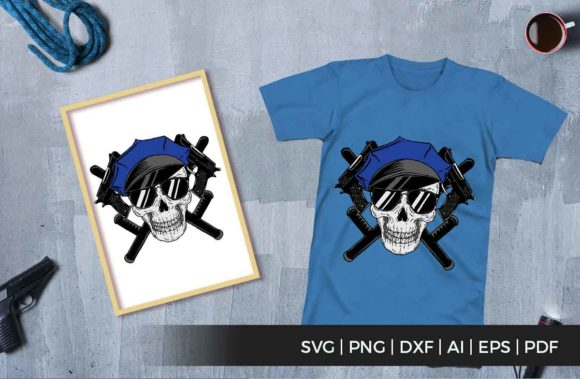 Print on Demand: Skull Police and Gun Graphic Illustrations By svgsupply