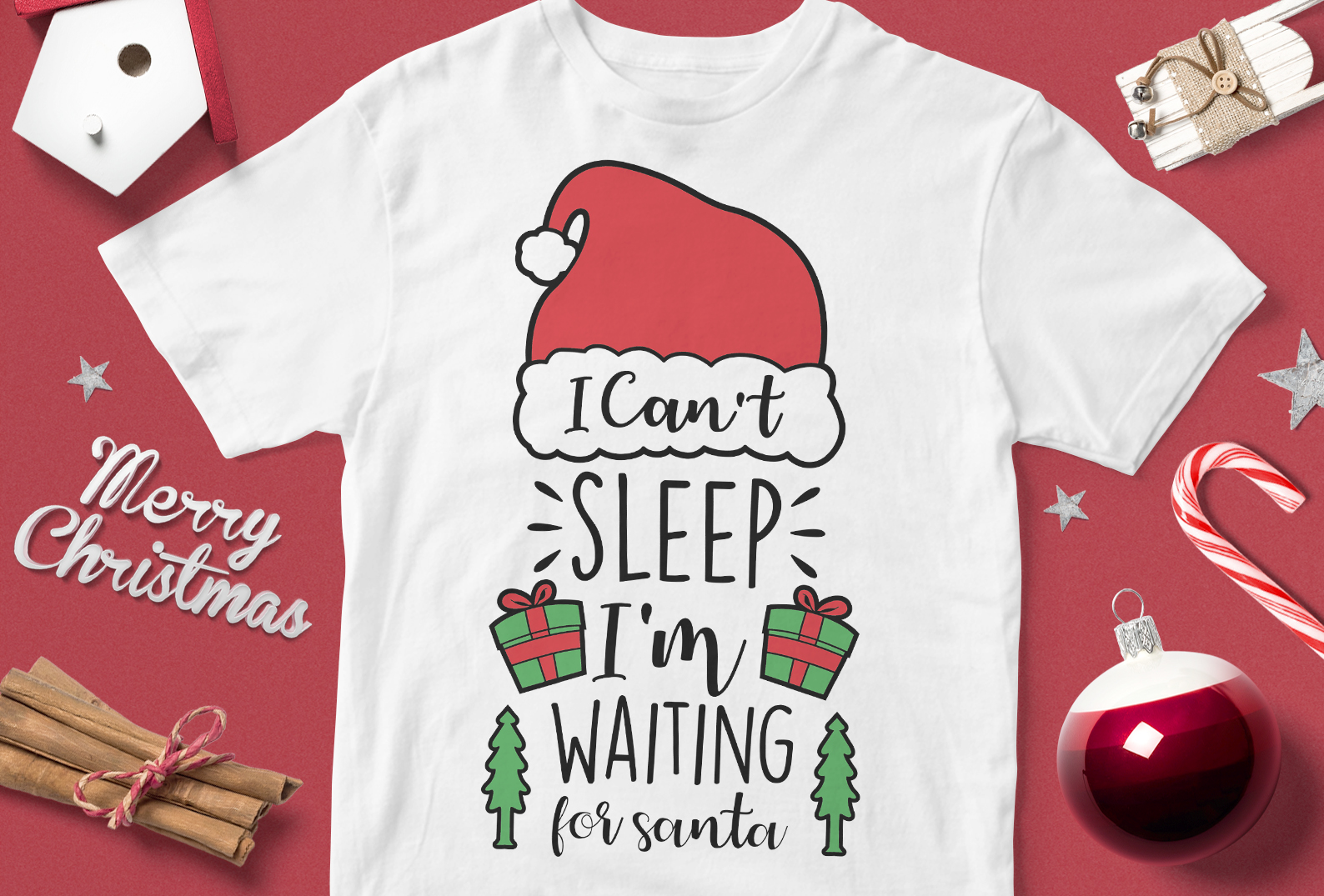 Download Free I Can T Sleep I M Waiting For Santa Graphic By Svgsupply for Cricut Explore, Silhouette and other cutting machines.