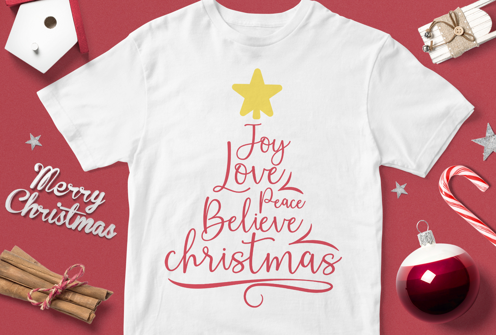 Download Free Joy Love Peace Believe Christmas Graphic By Svgsupply Creative Fabrica for Cricut Explore, Silhouette and other cutting machines.