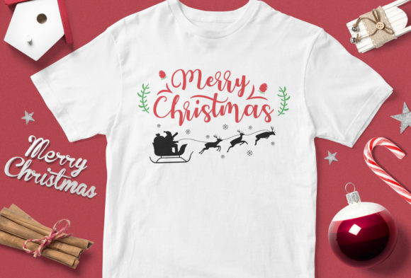 Print on Demand: Merry Christmas Santa and Deer Graphic Illustrations By svgsupply