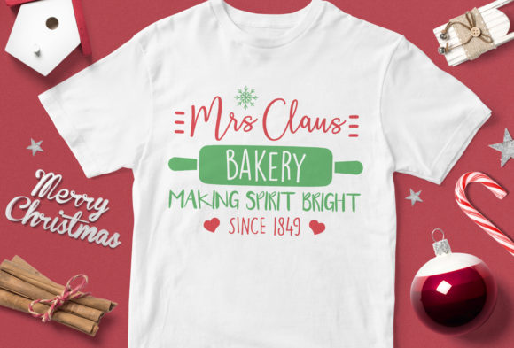 Print on Demand: Mrs Claus Bakery Making Spirit Bright Si Grafik Illustrationen von svgsupply