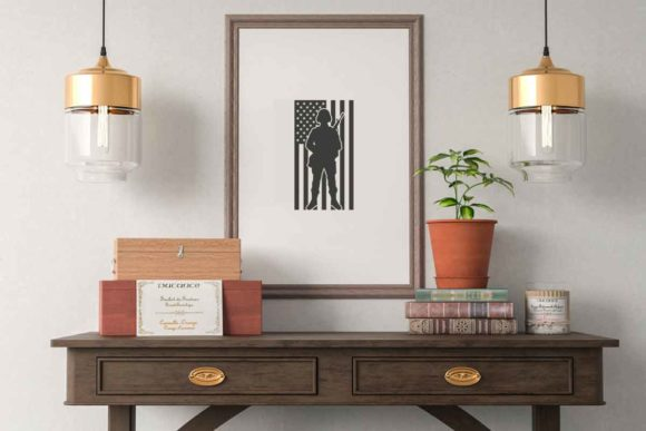 Print on Demand: Soldier Silhouette Png American Flag Graphic Illustrations By svgsupply - Image 2