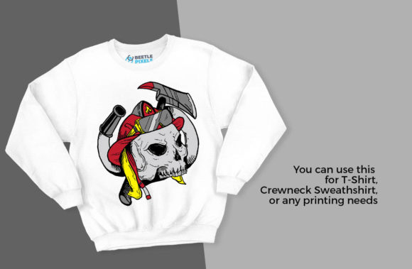 Print on Demand: Skull Firefighters Graphic Illustrations By svgsupply - Image 2