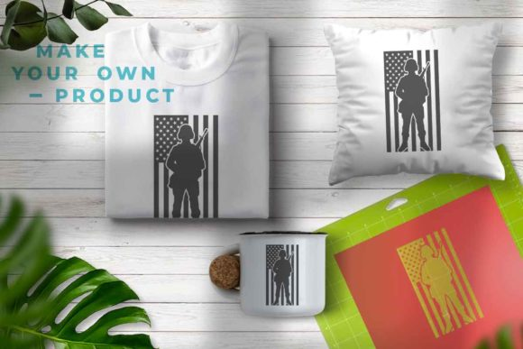 Print on Demand: Soldier Silhouette Png American Flag Graphic Illustrations By svgsupply - Image 3