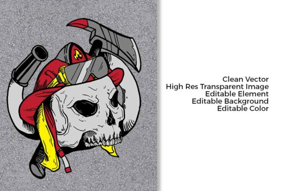 Print on Demand: Skull Firefighters Graphic Illustrations By svgsupply - Image 3