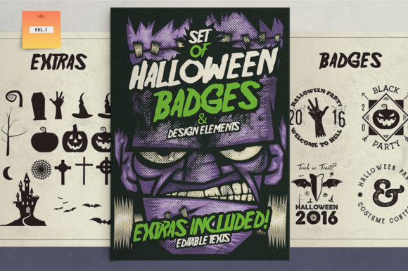 Download Free Halloween Badges Extras Vol 1 Graphic By Jeksongraphics for Cricut Explore, Silhouette and other cutting machines.
