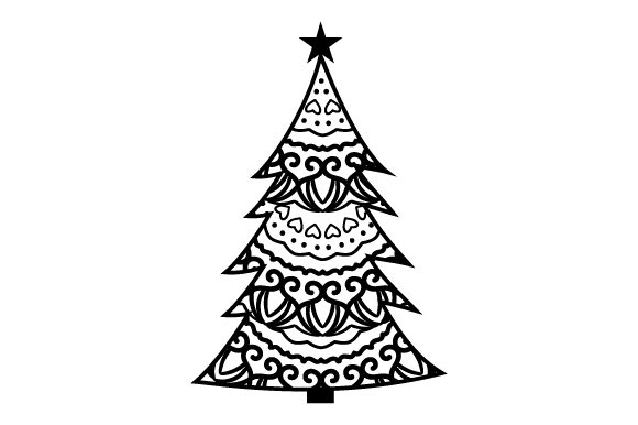 Download Free Christmas Tree Mandala Style Svg Cut File By Creative Fabrica for Cricut Explore, Silhouette and other cutting machines.