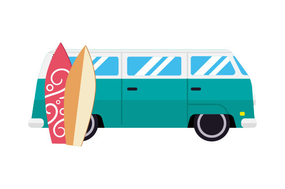 Retro Van with Surfboards Summer Craft Cut File By Creative Fabrica Crafts
