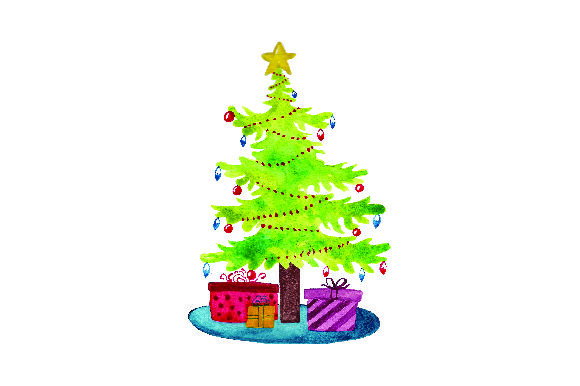 Christmas Tree With Presents Watercolor Svg Cut File By