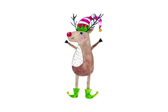 Reindeer Wearing Elf Shoes and Elf Hat - Watercolor Christmas Craft Cut File By Creative Fabrica Crafts