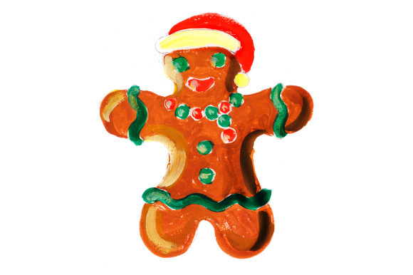 Ginger Bread Man in Gouache Style Christmas Craft Cut File By Creative Fabrica Crafts