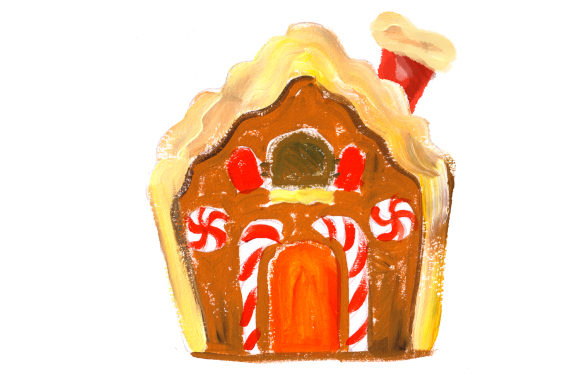 Ginger Bread House in Gouache Style Christmas Craft Cut File By Creative Fabrica Crafts