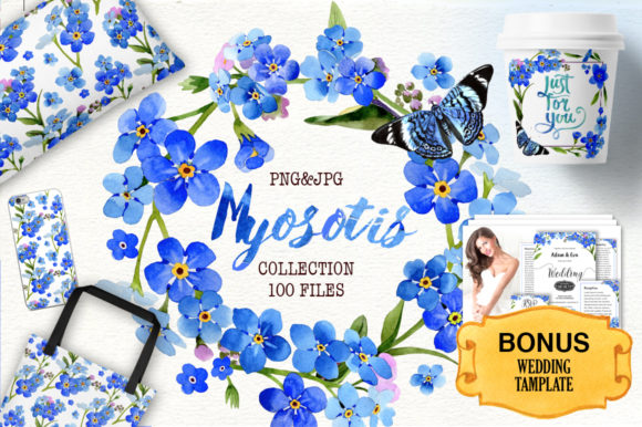 Print on Demand: Myosotis Flowers Blue Graphic Illustrations By MyStocks