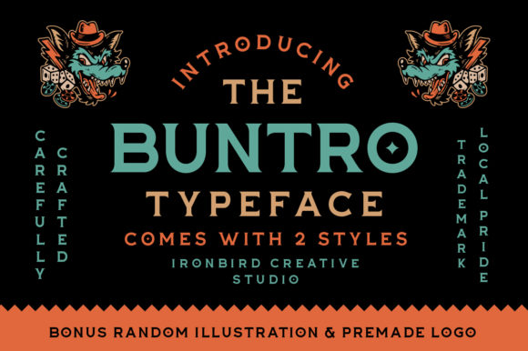 Print on Demand: The Buntro Display Font By ironbirdcreative