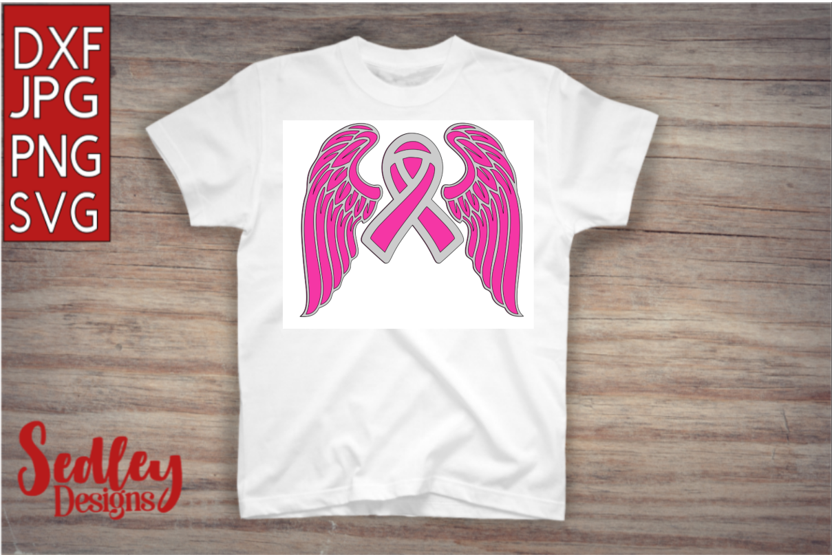 Download Free Cancer Ribbon With Wings Graphic By Sedley Designs Creative for Cricut Explore, Silhouette and other cutting machines.