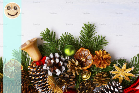 Print on Demand: Christmas Background with Wooden Graphic Holidays By TasiPas - Image 1