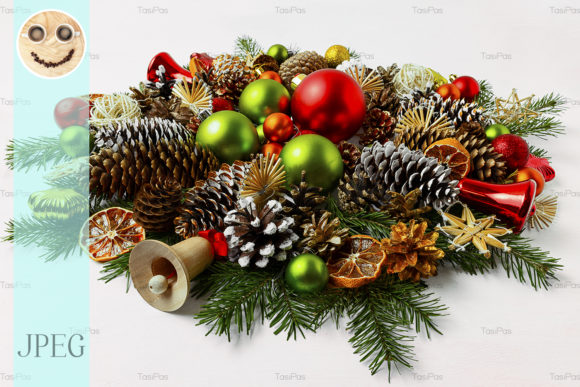 Print on Demand: Christmas Wreath with Wooden Jingle Bell Graphic Holidays By TasiPas - Image 1