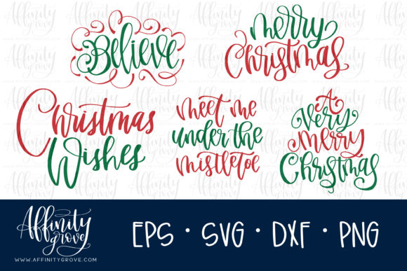 Download Free Hand Lettered Christmas Graphic By Affinitygrove Creative Fabrica for Cricut Explore, Silhouette and other cutting machines.