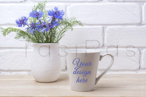Print on Demand: White Coffee Latte Mug Mockup Graphic Product Mockups By TasiPas - Image 1