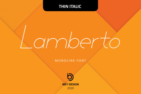 Print on Demand: Lamberto Thin Italic Display Font By ibeydesign