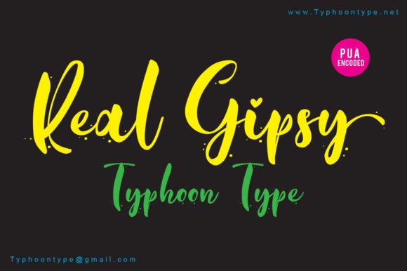 Print on Demand: Real Gipsy Script & Handwritten Font By Typhoon Type - Suthi Srisopha
