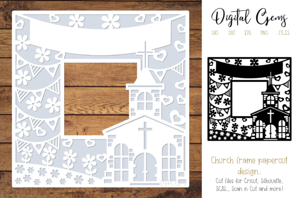 Church Papercut Design Grafik 3D SVG von Digital Gems