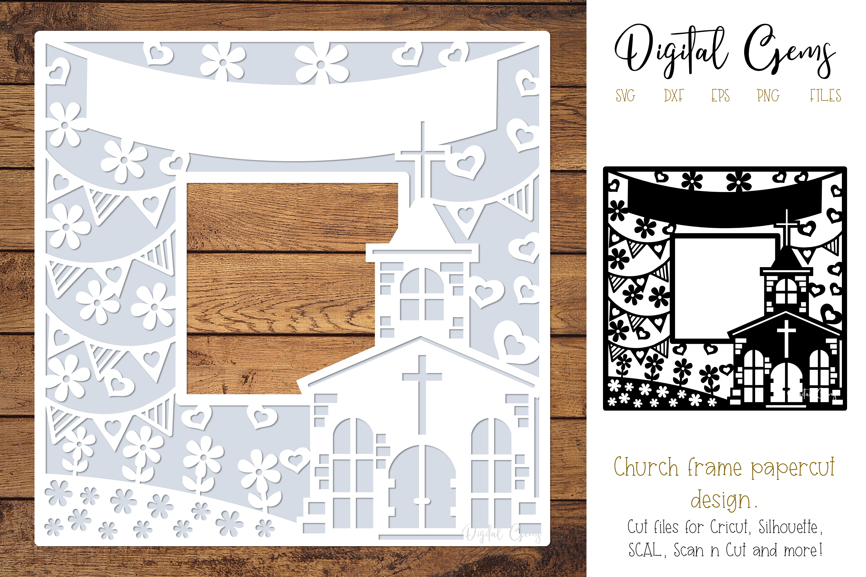 Download Free Church Papercut Design Graphic By Digital Gems Creative Fabrica for Cricut Explore, Silhouette and other cutting machines.