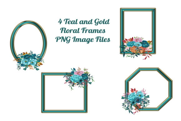 Print on Demand: 4 Geometric Teal and Gold Floral Frames Graphic Graphic Templates By Scrapbook Attic Studio