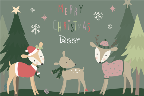 Print on Demand: Merry Christmas Deer Graphic Illustrations By poppymoondesign