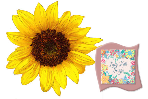 Download Free Sunflower Illustration Graphic By Lucy Kate Design Creative for Cricut Explore, Silhouette and other cutting machines.
