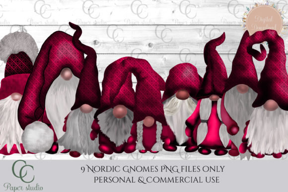Pink Damask Tomte Gnomes Graphic By CC Paper Studio