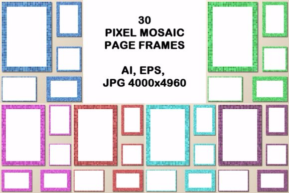 30 Pixel Mosaic Page Frames Graphic Print Templates By davidzydd - Image 1