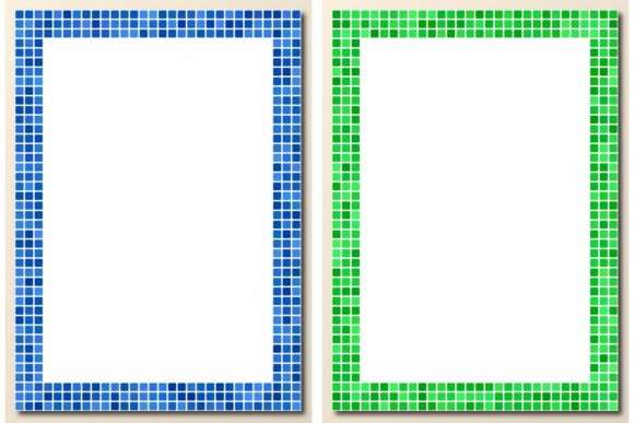 30 Pixel Mosaic Page Frames Graphic Print Templates By davidzydd - Image 2