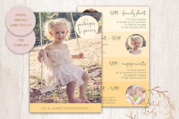 Print on Demand: PSD Photography Price Card Template #3 Graphic Print Templates By daphnepopuliers