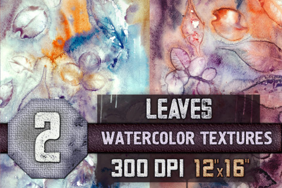 Print on Demand: 2 Waterocolor Textures with Leaves, Autu Graphic Backgrounds By WaterflowArt
