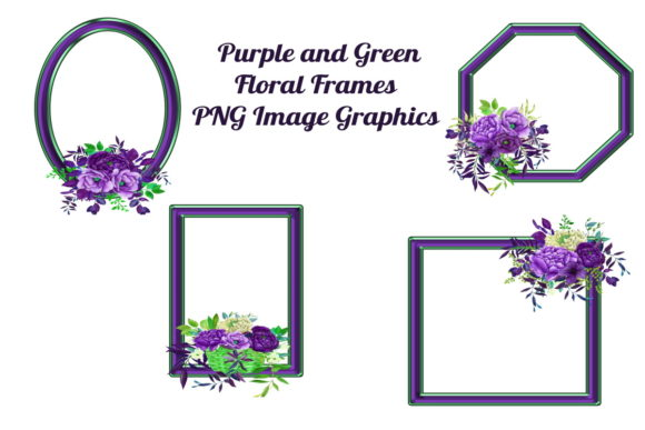 Print on Demand: 4 Purple Floral Frames PNG Files Graphic Graphic Templates By Scrapbook Attic Studio