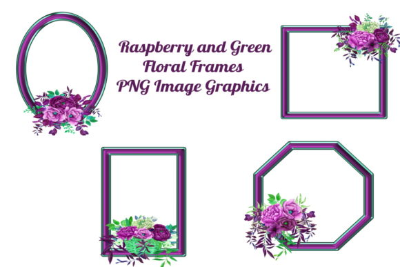 Print on Demand: 4 Raspberry Floral Frames PNG Files Graphic Graphic Templates By Scrapbook Attic Studio