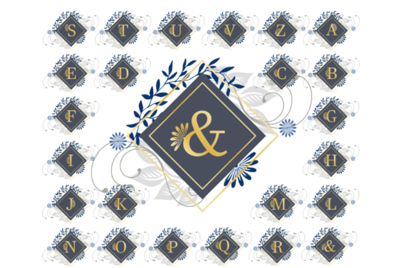 Print on Demand: Floral Blue and Gold Deco Monogram Graphic Illustrations By artsbynaty